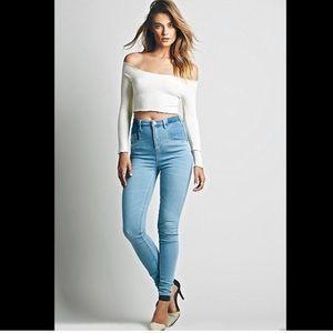Free people ultra high waist jeans.